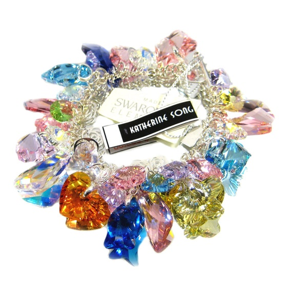 Pink, blue, yellow Swarovski SUMMER GARDEN  crystal charm bracelet - made to order - free shipping
