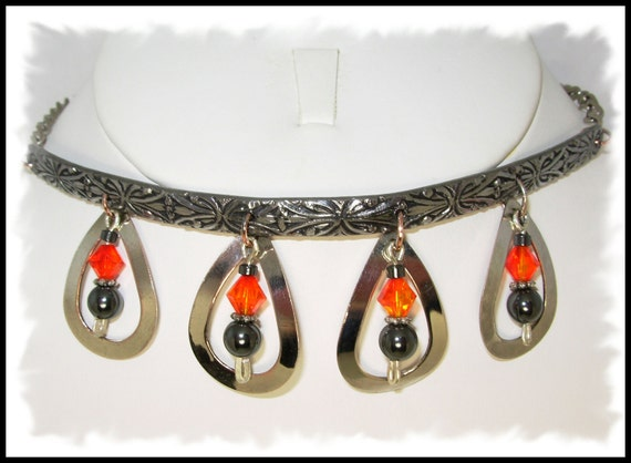 Halloween Sale,Orange & Black Swarovski, Patterned Steel Choker,Silver drops