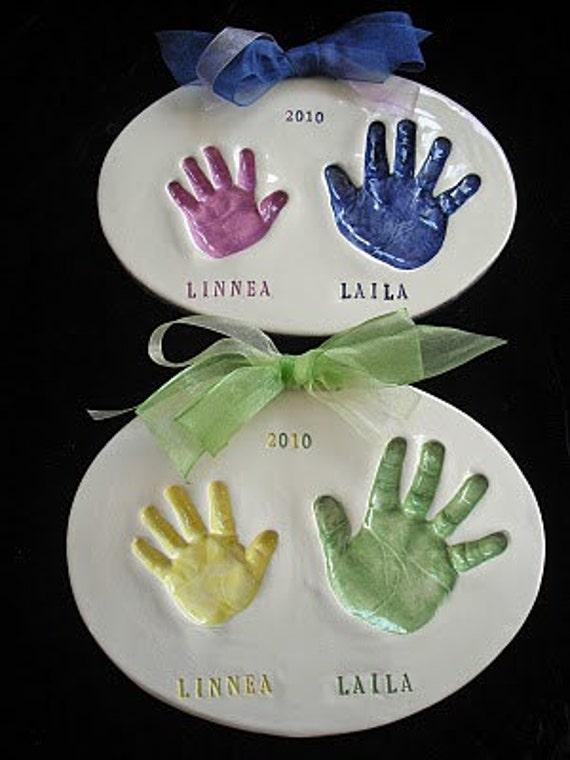 Sibling Two Tone Handprint Plaque