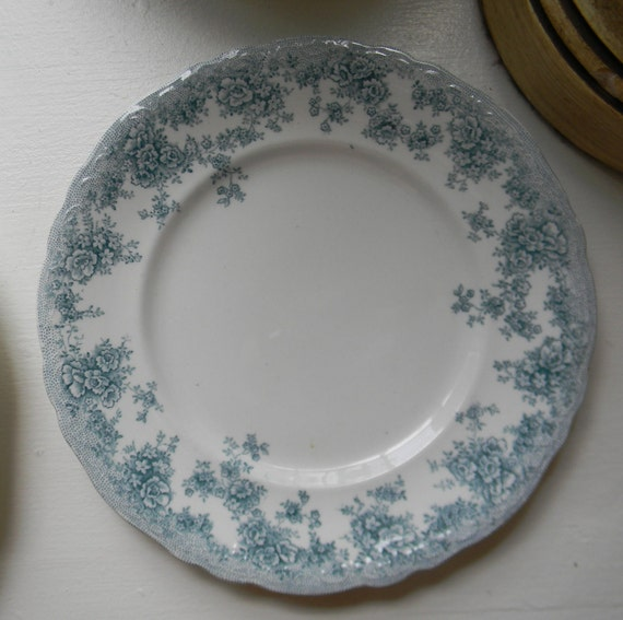Antique Teal Transfer Ware Plate Victorian Shabby Roses and Tiny Flowers