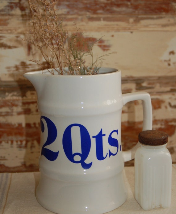 v i n t a g e Ceramic 2 Quart Pitcher with Blue Lettering