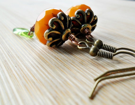 Pumpkin Orange Earrings, Mixed Metals by designsbyaly - Modern Autumn