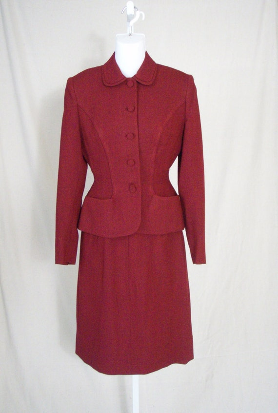 1940s Womens Vintage Scarlet Red Suit Jacket and Skirt XS New Look