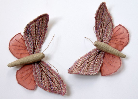 Fabric Moth /  Brooch / Ornament / Vintage Wool / Pink / Made to Order