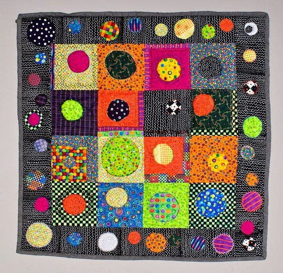 "Art Quilt Wall Hanging Bright Circle Motif ""Facing Circles"""