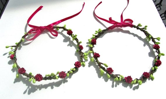 Wedding Tiara Flower Girl Wreath Fuchsia Set of 2
