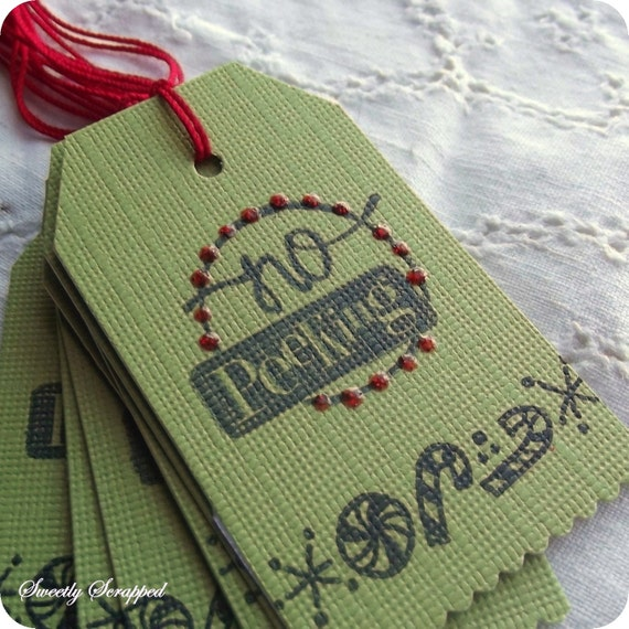 Christmas Tags -No Peeking - Green, Red, Glitttered