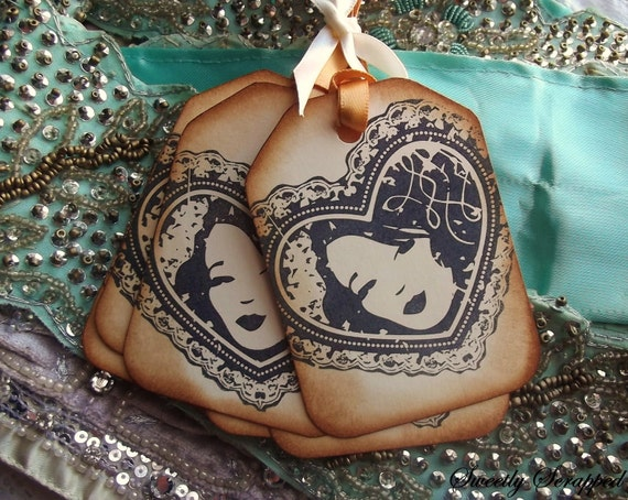 8 Shabby Chic Lady Tags with Doily, Stamped, Vintage Inspired
