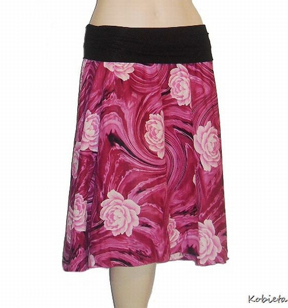 *Sale*Kobieta Womens 1/2 Circle Skirt in Fuchsia Pink Rayon-Yoga Waist-Sz XXS-Med-Gorgeous Drape