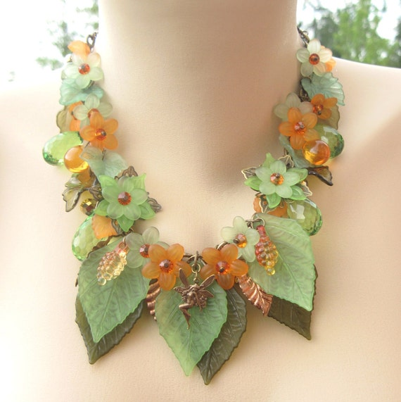 Neverland Autumn Leaf and Flower Nature Necklace