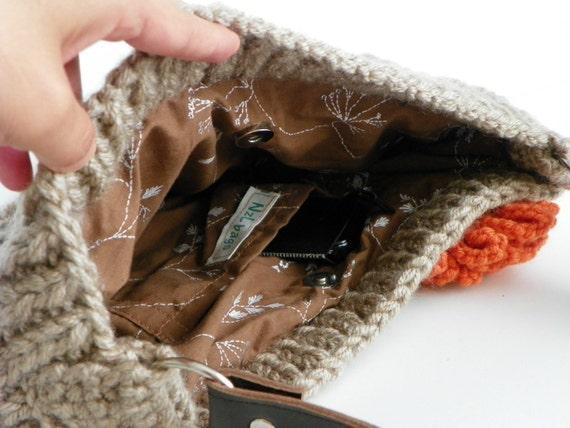 NzLbags новых нейтральных Маленькая - бежевый светло-коричневой Вязание сумка, сумка - сумка, кожаный ремешок Nr-0180