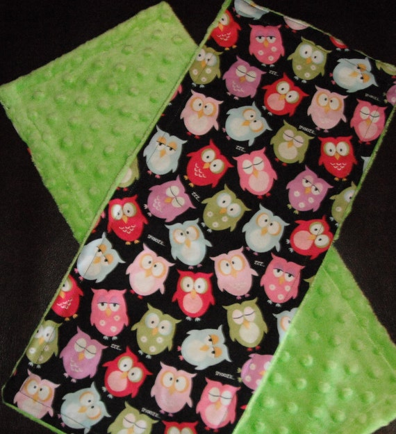 Black and Pink Snoozing Owls with Lime Green Minky Dot Burp Cloths- Set of 2