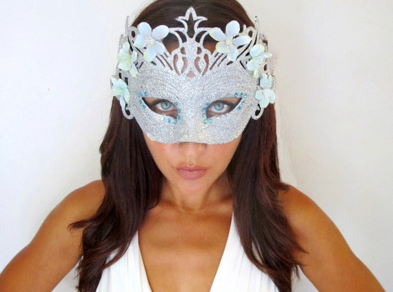 Halloween Mask, Masquerade, Vampire Queen, Witch, Fairy, Hair Accessories,Silver Blue -GHOST -