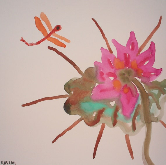 Watercolor: Lotus and Dragonfly