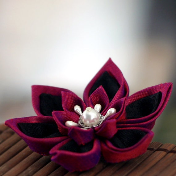 Silk Hairbow, Deep Fuchsia and Black Floral Hair Clip in Gothic Romance