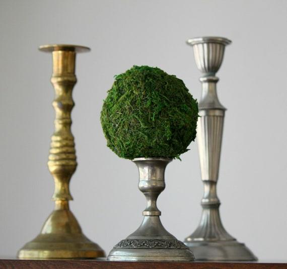 Мосс мяч Топиари на Vintage Подсвечник