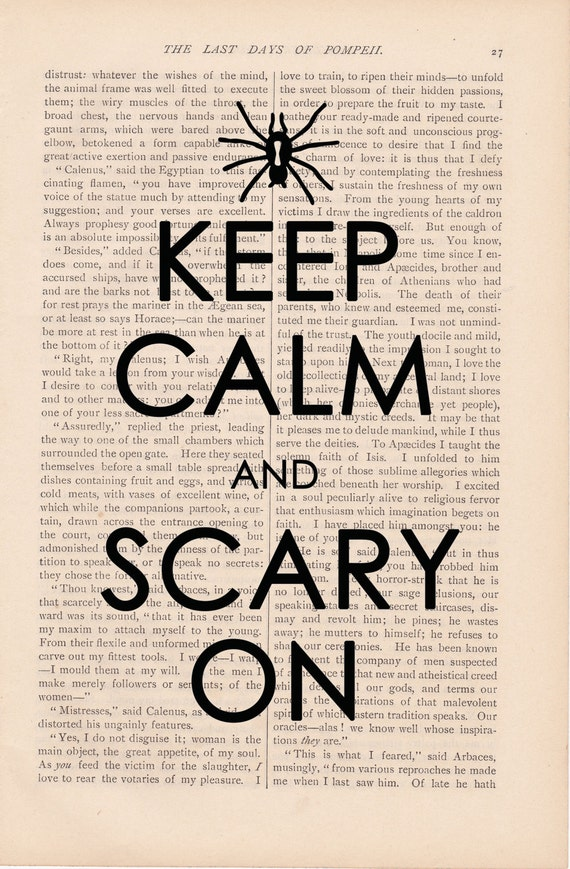 Halloween decor dictionary art vintage KEEP CALM & SCARY On print - vintage art book page print - halloween decorations