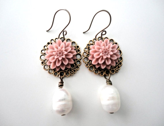 Antiqued Floral Cabochons with Freshwater Pearl Drop Bronzed Earrings