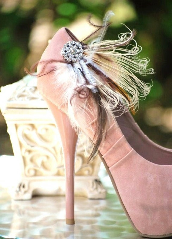 Shoe Clips Ivory Brown Rhinestone. Bride Bridal Bridesmaid MOH Couture Big Day Derby Rockabilly. Spring Feminine Edgy Bold Pearl