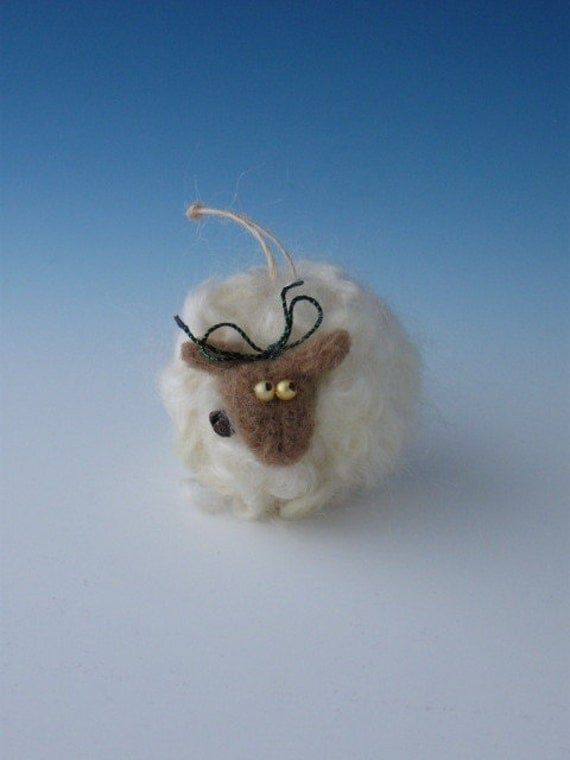 FELTED SHEEP ORNAMENT Felted Ornament