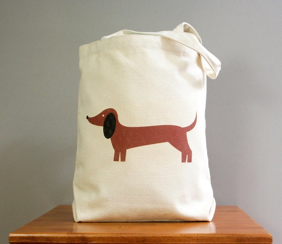 Dachshund canvas tote, cute and adorable. Sturdy 100% 10oz. cotton canvas.