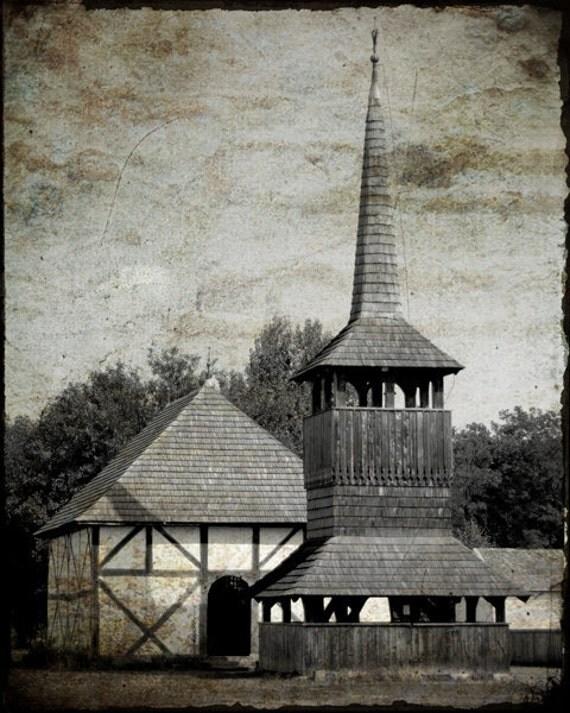 Старые деревянные церкви Черно-белый Париж - Европа стока - художественной фотографии - Home Decor - Европа Фото