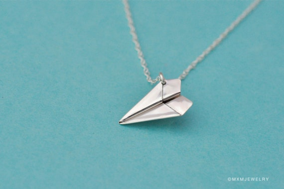"1"" Tiny Paper Airplane II Pendant/Necklace with 24"" chain"