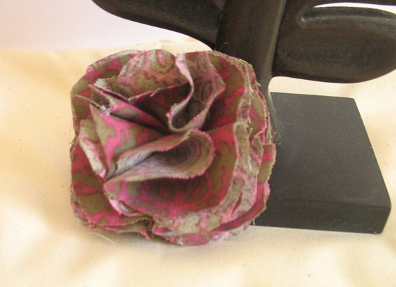 Dark Purple and Dark Grey Fabric Flower Brooch Pin
