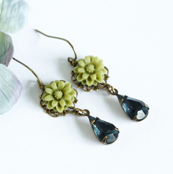 Vintage Jewel Earrings - Olive Green Flower and  Navy Blue Jewels  - Romantic and Feminine
