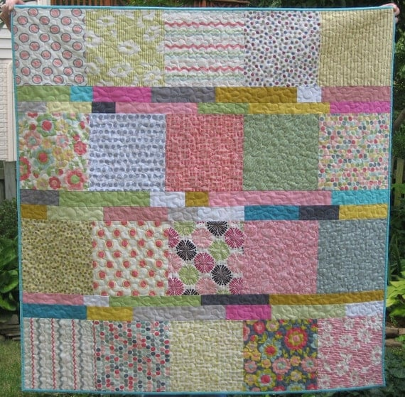 Happiness Quilt in pastels and gray