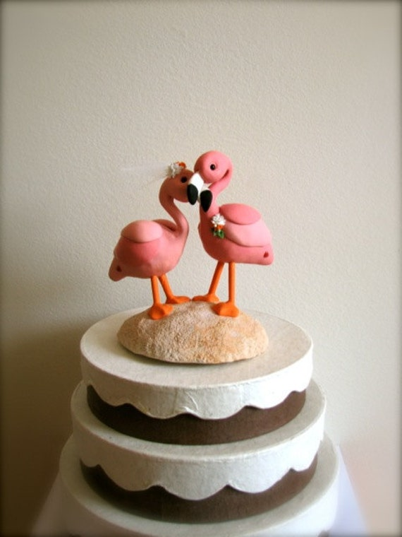 RESERVED custom flamingo wedding cake topper for Jenny From theaircastle