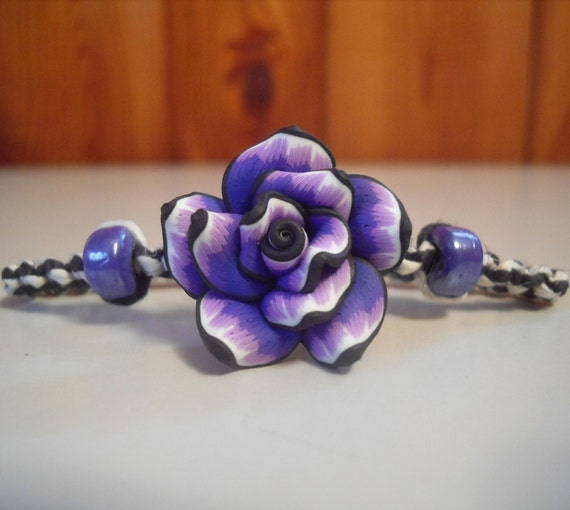 Purple Tie Dye Rose Hemp Bracelet