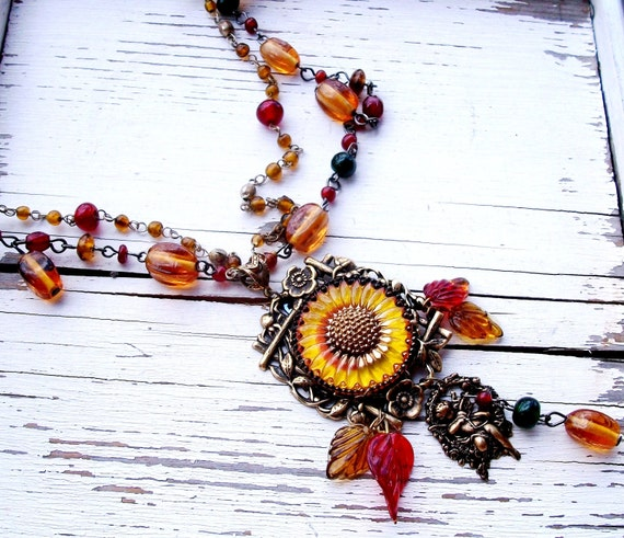 "OOAK Handmade GLASS Beaded NECKLACE - ""Autumn Harvest"" - Dbl Chain, Fall Colors, Sunflower, Woodland, Rustic, Artisan, Wearable Art, Leaves"