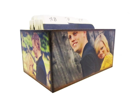 Custom Personalized Photo Wedding Guest Book Box Alternative With Dividers and 100 4x6 Guest Cards - Made to Order