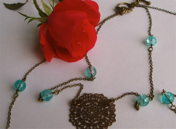 Double Chain Necklace - Metal Filigree Accent Pendant with Soft, Feminine Teal Blue Glass Beads on Double Antiqued Brass Chain