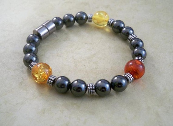 Hematite Bracelet in Golds and Red, Magnetic
