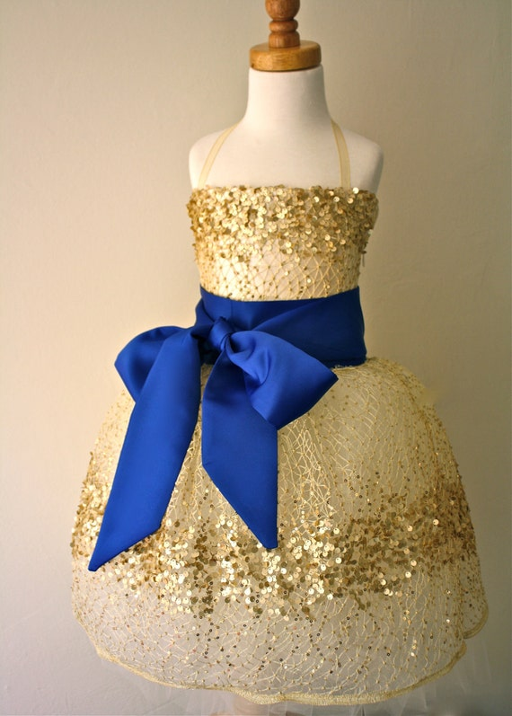 Gold Constellation Flower Girl Dress- Navy Blue Sash Example