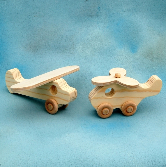 Wooden Toy Airplane and Helicopter Play Set
