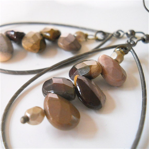 Mookaite Jasper Gemstone Earrings with Matte by YOURDAILYJEWELS from etsy.com