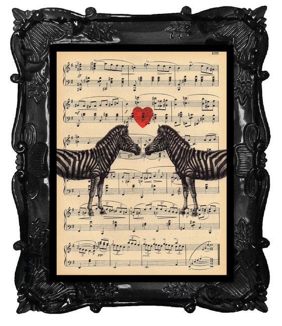Upcycled Dictionary Page Upcycled Book Art Upcycled Art Print Upcycled Book Print Vintage Zebra Heart Lovers Music Sheet