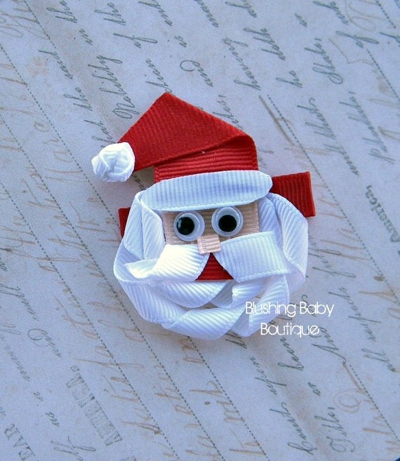 Santa Clause Hair Clip- Attached to Partially lined Alligator Clip-