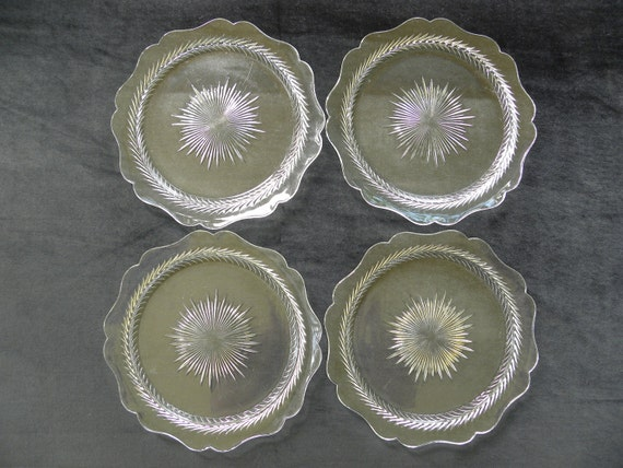 Clear Glass Plates Set of Four