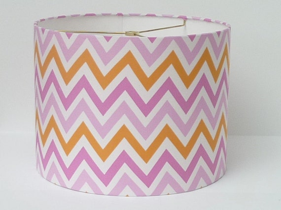 Drum Lamp Shade in a Pink and Orange Chevron / Zigzag Fabric.