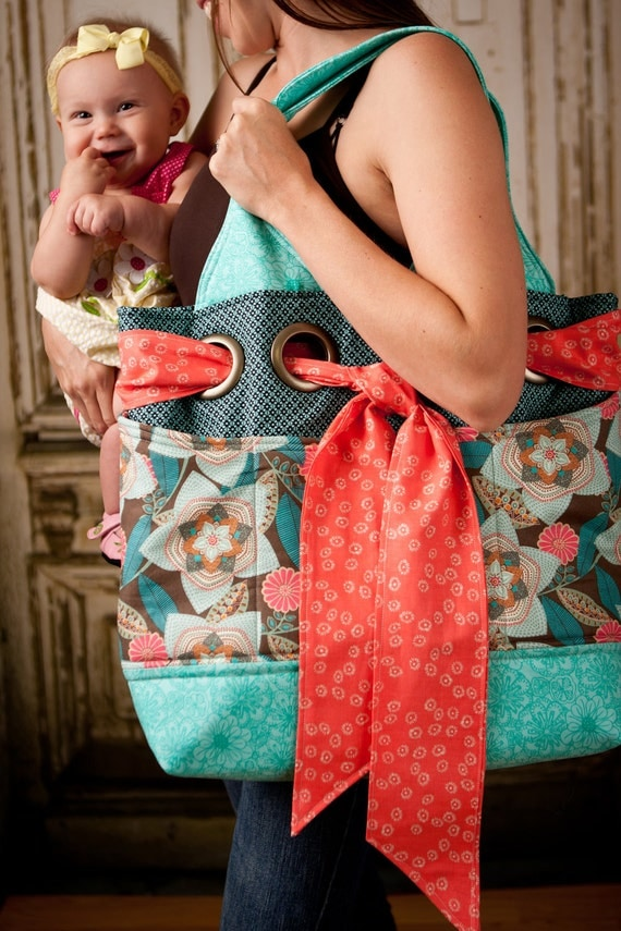 MADE TO ORDER oversized diaper bag with beautiful floral print and sash woven through grommets
