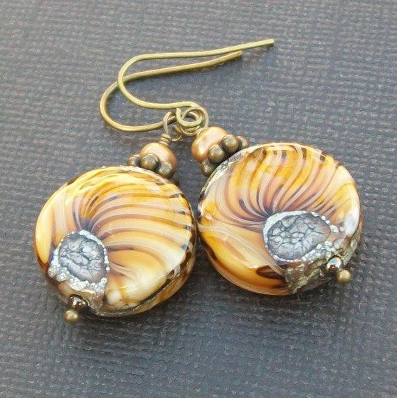 lampwork earrings  beautiful golden beribboned bead- sunflowers