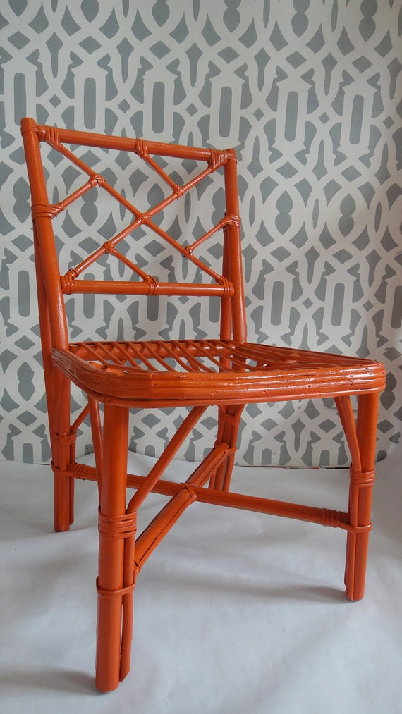 VINTAGE BAMBOO Orange LACQUER Chair Chinoiserie/ Chinese Chippendale