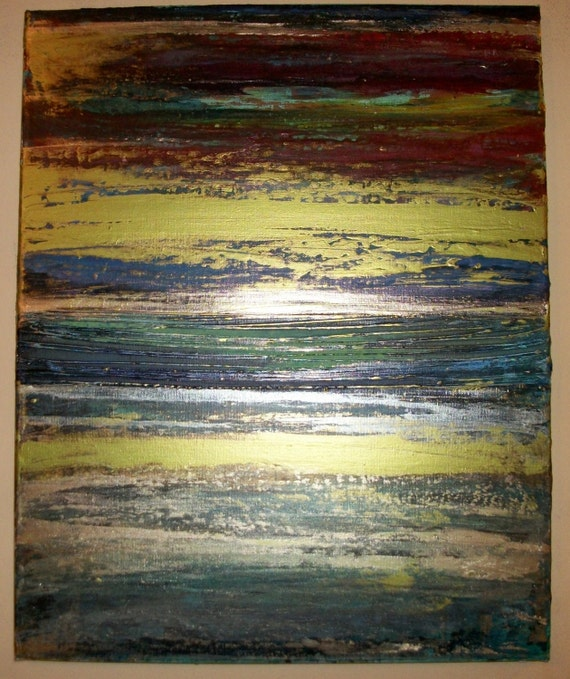 Low PriCe Autumn Original Handpainted Abstract Acrylic on 20x16in Canvas Beautiful Colors Lots of Texture