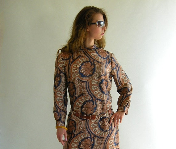 SILK Scarf Print Vintage 60s Day Dress M Brown Navy by empressjade