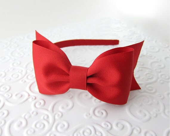 Red Bow Headband Snow White Costume Prop Pretend Play by Snowbella on Etsy