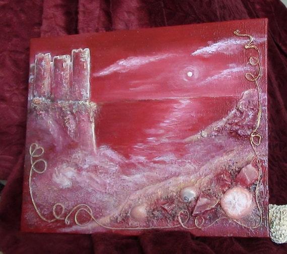 Замок от океана, Красное Mixed Media оригинальную художественную